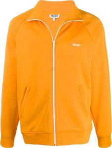 logo print track jacket - Orange