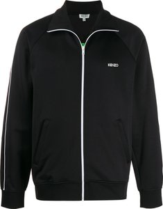 tech jersey logo track jacket - Black
