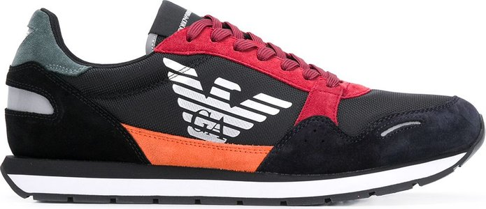 mesh and suede panelled sneakers - Black