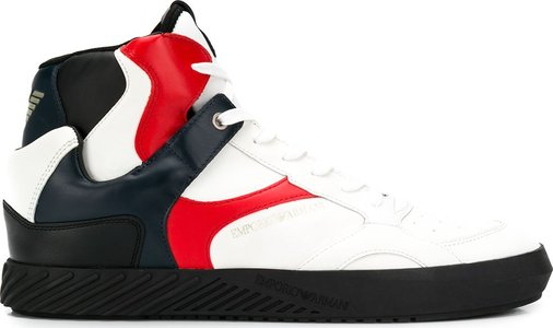 contrasting panel high-top sneakers - White