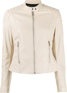 Mollison slim-fit biker jacket - Neutrals