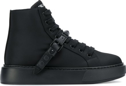 buckled strap high-top sneakers - Black
