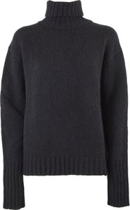 Black Wool And Cashmere Blend Roll Neck Sweater