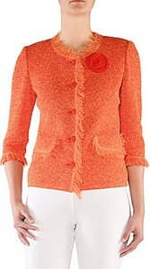 Tweed-Texture Jacket - Coral - Size 20W