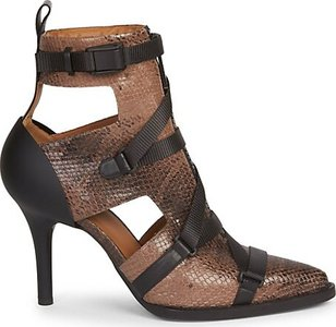 Tracy Buckle Watersnake Print Leather Ankle Boots