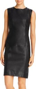 New York Seamed Leather Sheath Dress