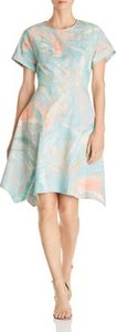 New York Brushstroke Print Fit-and-Flare Dress