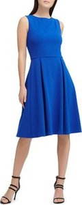 New York Scuba Crepe Pleat-Detail Dress
