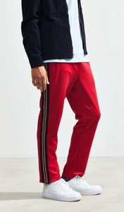 Textured Rib Track Pant - Red M at Urban Outfitters