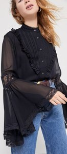 Bell Sleeve Button-Front Blouse - Black Xs at Urban Outfitters