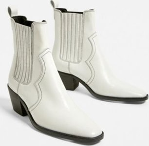 UO Billie Leather Western Boot - White 5 at Urban Outfitters