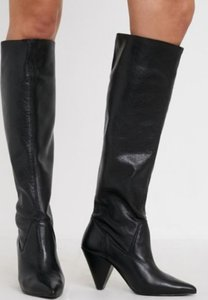 UO Bridget Leather Slouchy Knee-High Boot - Black 10 at Urban Outfitters