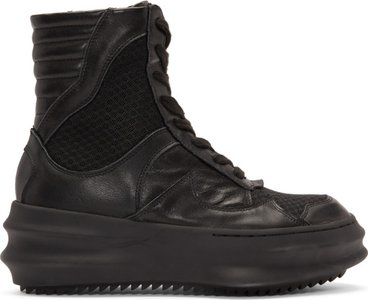 Black Curved High-Top Sneakers