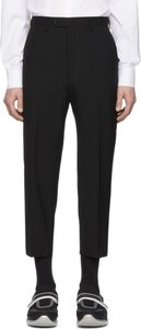 Black Wool Cropped Trousers
