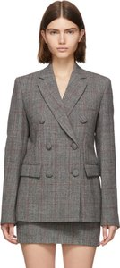 Grey Wool Prince Of Wales Double-Breasted Blazer
