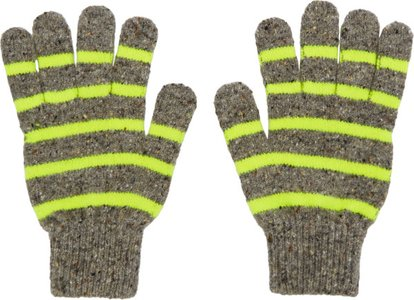 Grey and Yellow Striped Gloves