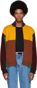 Multicolor Wool Colorblock Zip Jacket