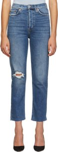Blue Ultra High-Rise Stove Pipe Jeans