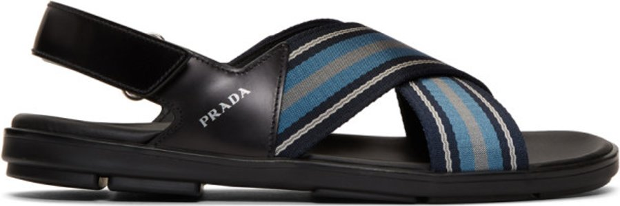 Black and Blue Ribbon Stripes Ankle Sandals