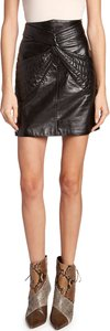 Chaz Leather Twisted Skirt