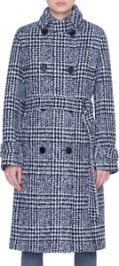 Lacquered Wool Check Trench Coat