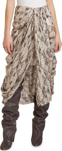 Candelia Quilting-Print Fil Coupe Draped Skirt