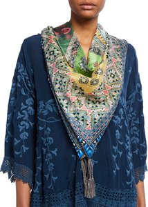 Roni Silk Square Scarf with Tassels
