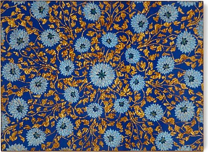 Flower Painted Mirror Placemat, Blue/Gold