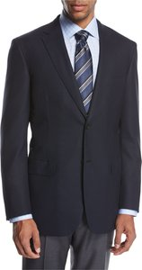 Ravello Wool Two-Button Sport Coat, Navy Blue