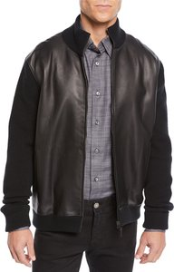 Leather-Front Zip Knit Blouson Jacket