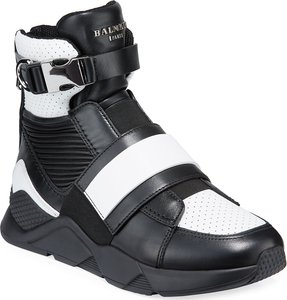 High-Top Sneakers with Contrast Leather Trim