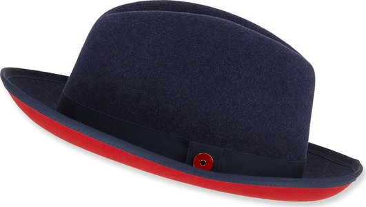 King Red-Brim Wool Fedora Hat, Blue