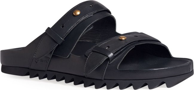 Duke Leather Buckle Sandals w/ Sharktooth Sole