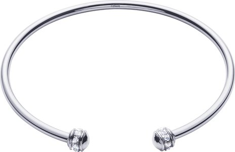 Possession Thin 18K White Gold Open Bangle with Diamonds, Size M