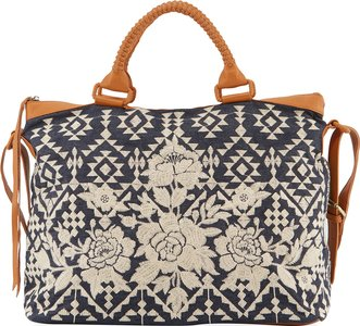 Mela Embroidered Overnight Tote Bag