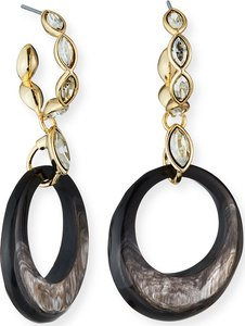 Crystal Hoop Horn-Drop Earrings