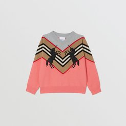 Childrens Unicorn Embroidered Technical Wool Sweater, Size: 10Y, Peach