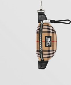 Vintage Check and Leather Bum Bag Charm, Beige