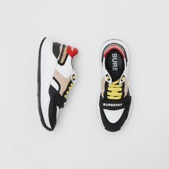 Nylon, Suede and Vintage Check Sneakers, Size: 37, Beige