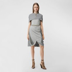 Cape Detail Technical Wool Jersey Shift Dress, Size: 08, Grey