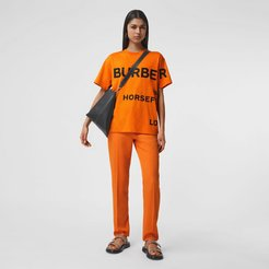 Horseferry Print Cotton Oversized T-shirt, Size: XS, Orange