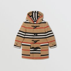 Childrens Double-faced Icon Stripe Wool Duffle Coat, Size: 12Y