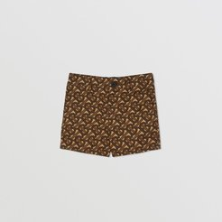 Childrens Monogram Print Cotton Tailored Shorts, Size: 2Y, Brown