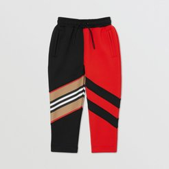 Childrens Icon Stripe Detail Stretch Jersey Jogging Pants, Size: 10Y, Red