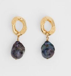 Pearl Detail Gold-plated Chain-link Earrings, Black