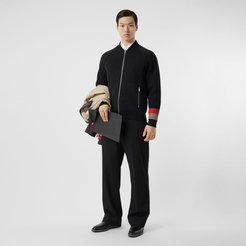 Double-faced Wool Cashmere Blend Bomber Jacket, Black