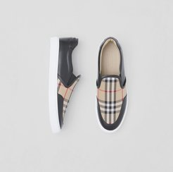 Leather and Vintage Check Slip-on Sneakers, Size: 38.5