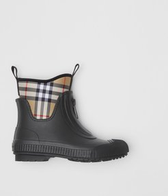Vintage Check Neoprene and Rubber Rain Boots, Size: 35, Black