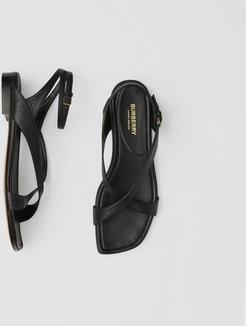 Lambskin Wraparound Sandals, Size: 38, Black