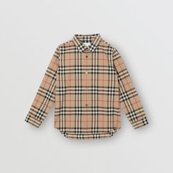 Childrens Vintage Check Cotton Poplin Shirt, Size: 10Y, Beige